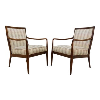 Folke Ohlsson Style Modern Walnut Lounge Chairs - A Pair