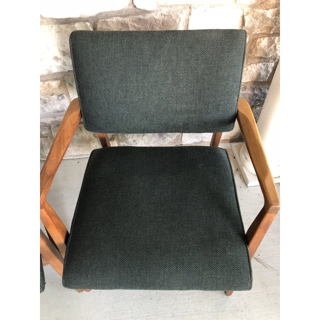 Mid Century Danish Modern Upholstered Arm Chairs - a Pair For Sale - Image 4 of 11
