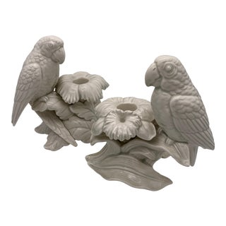 Vintage White Porcelain Parrot Candle Holders - a Pair For Sale