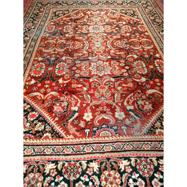 Persian Mahal Sultanabad Red and Auburn Wool Rug - 9′ × 12′5″ For Sale In Chicago - Image 6 of 7