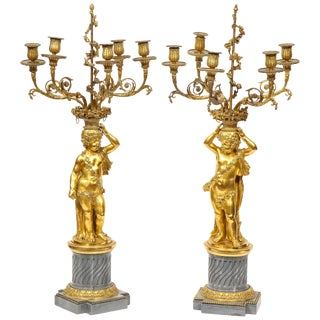 Pair of French Ormolu and Bleu Turquin Marble Candelabra, Monbro Frères For Sale