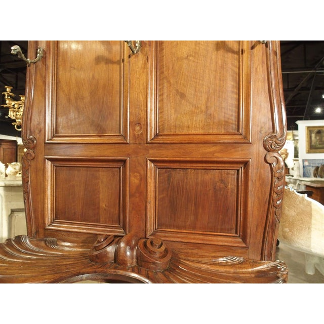 Brown Antique French Walnut Wood Hall Rack and Umbrella Stand, Circa 1880 For Sale - Image 8 of 11