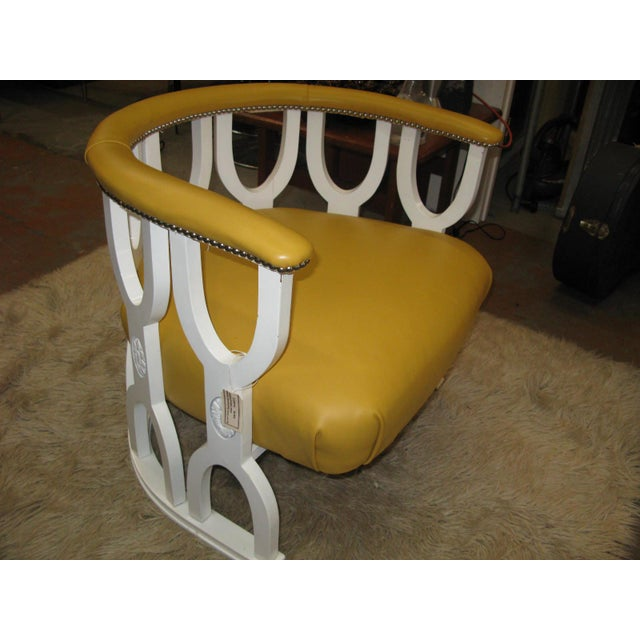 Fabulous Repurposed Vintage Leather Barrel Chair - Image 3 of 8