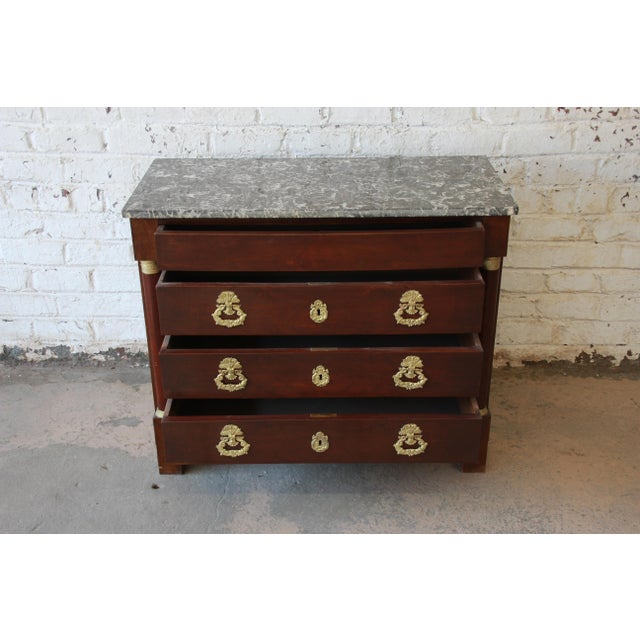 Mahogany French Empire Mahogany Marble Top Commode Chest of Drawers, Circa 1850 For Sale - Image 7 of 13
