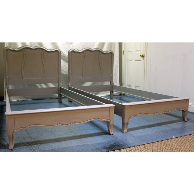 French Country Painted Gray Twin Size Bed Frames