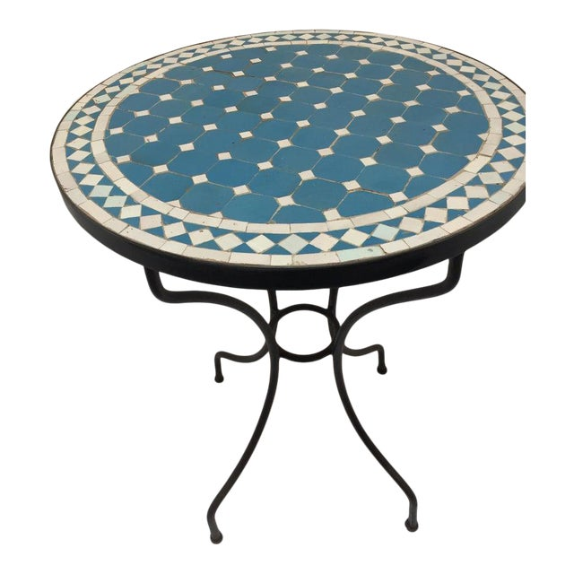Moroccan Mosaic Blue Tile Bistro Table For Sale