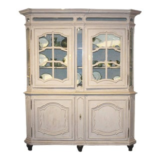 French 1890s Provençal Painted Wood Buffet à Deux-Corps with Glass Doors For Sale