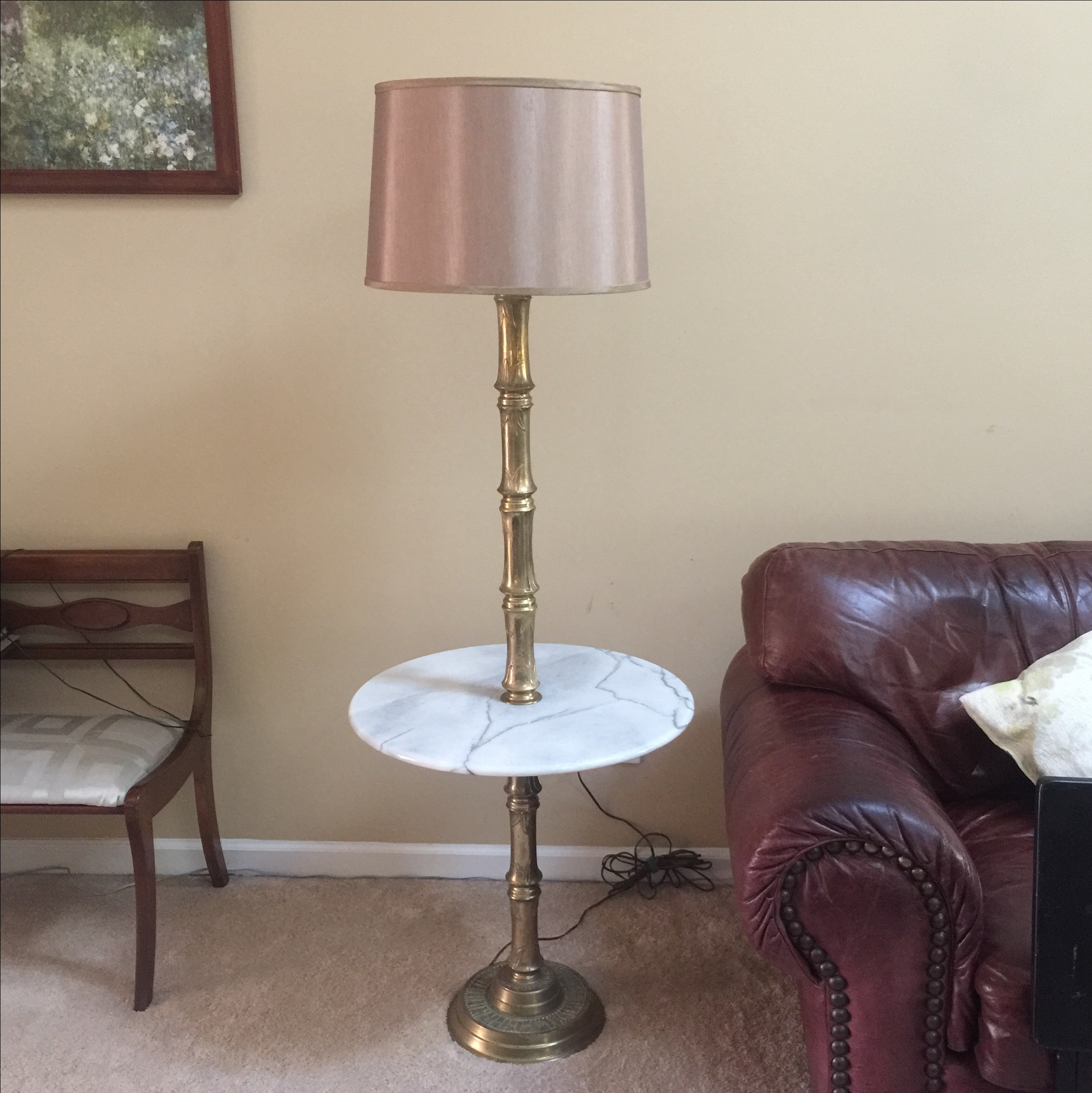 Marble Brass Floor Lamp With Side Table Chairish