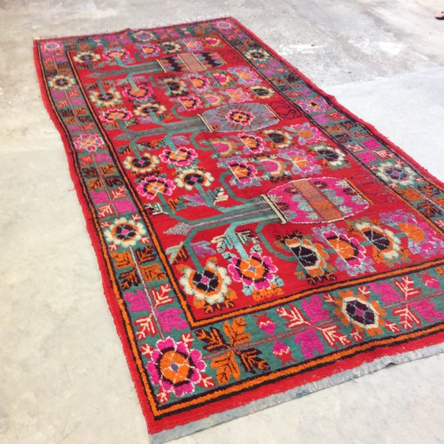Vintage Chinese Khotan Rug - 4'9x10' For Sale In Richmond - Image 6 of 13