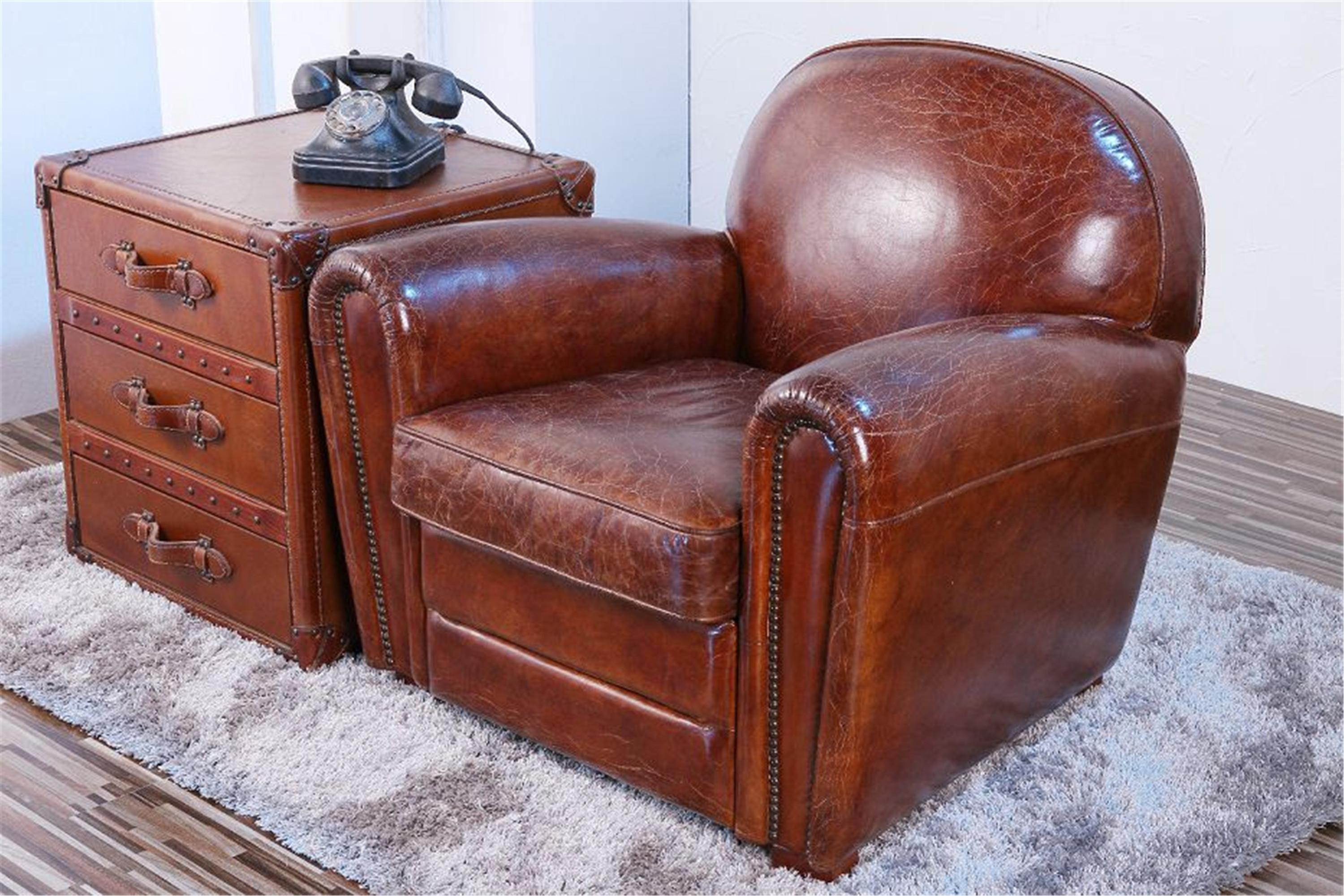 Pasargad Brown Leather Paris Club Chair   Image 2 Of 7
