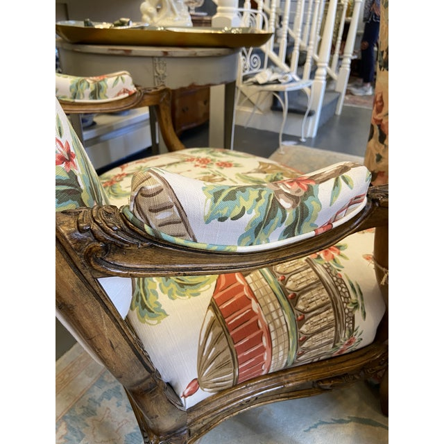 White 1920s French Carved Wood Chairs with Chinoiserie Fabric - a Pair For Sale - Image 8 of 10