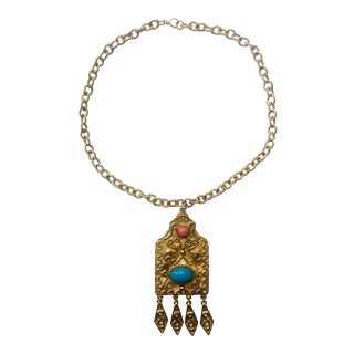 Florenza Etruscan Style Turquoise and Coral Pendant Necklace For Sale