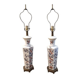 1950s Chinoiserie Style Ceramic Table Lamps - a Pair For Sale