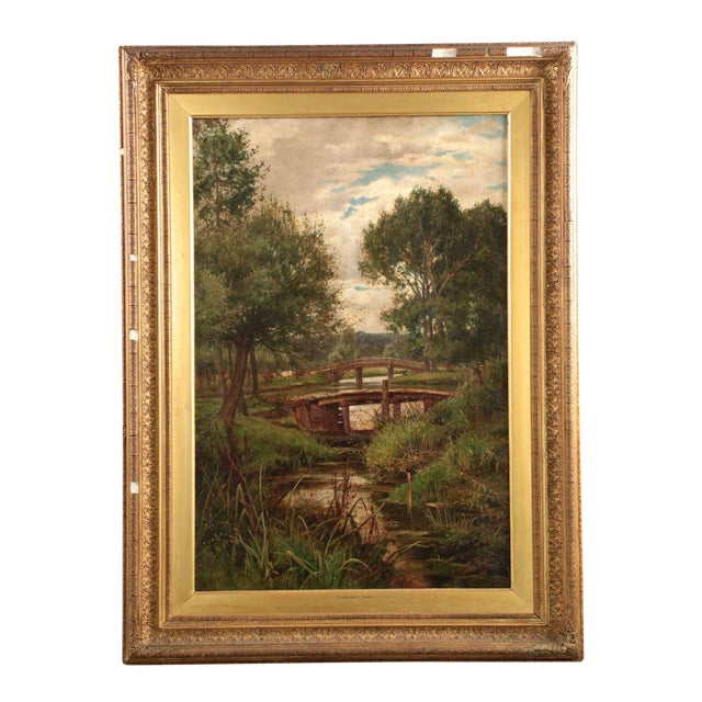 19th Century Landscape Painting of Bridges over Stream by Clarence Roe - Image 1 of 10