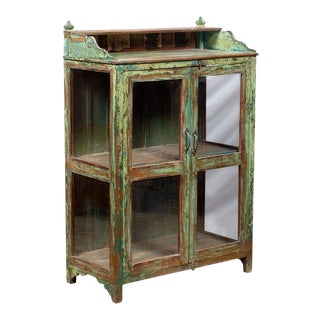 Rustic Two Door Bright Green Teak and Glass Cabinet Display For Sale