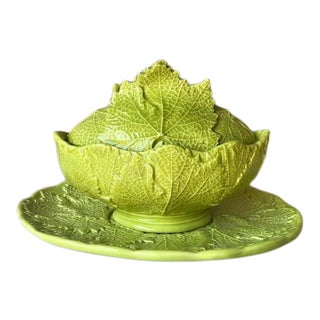 Vintage Italian Lime Green Lidded Leaf Bowl & Plate- 3 Pieces For Sale