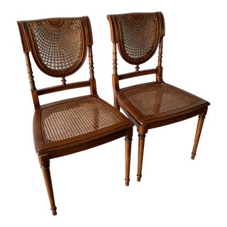 1990s Vintage Theodore Alexander Cane Accent Chairs- A Pair For Sale
