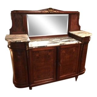 Burl Wood/Marble Top Side Board For Sale