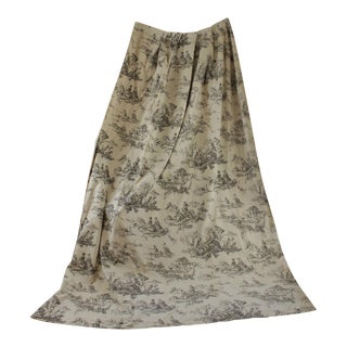 Vintage 1950s French Toile De Jouy Black / Grey Large Curtain Drape For Sale