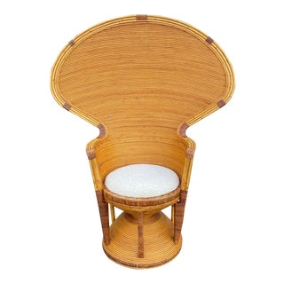 Stunning Danny Ho Fong Pencil Reed Peacock Chair For Sale