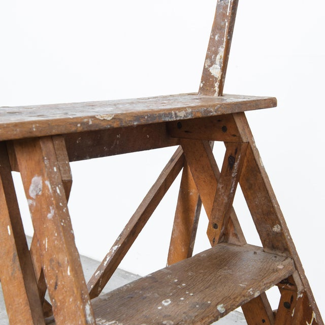 French Antique French Wooden Step Ladder For Sale - Image 3 of 4