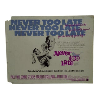 """Vintage Movie Poster """"Never Too Late"""" by Paul Ford & Connie Stevens 1965 For Sale"""