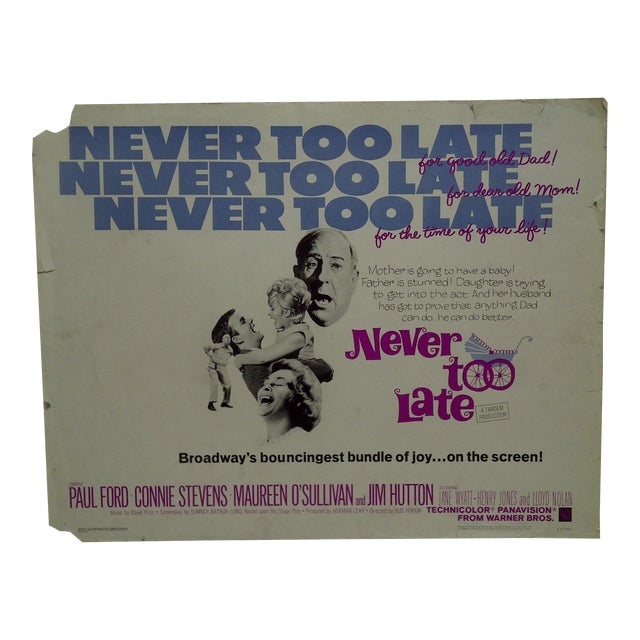 "Vintage Movie Poster ""Never Too Late"" by Paul Ford & Connie Stevens 1965 For Sale"