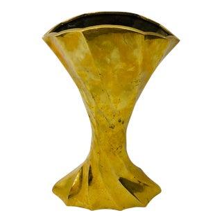 Vintage Gold Brass Vase For Sale