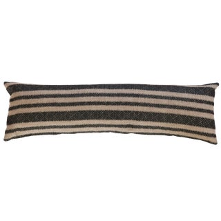 Reclaimed Remnant Onyx Black and Natural XL Lumbar Pillow For Sale