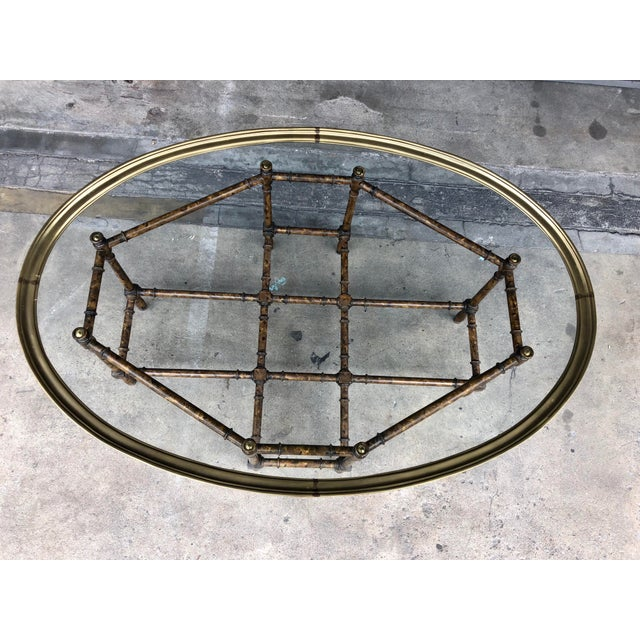 Late 20th Century Vintage Faux Bamboo Brass Tray Top Coffee Table For Sale - Image 5 of 13
