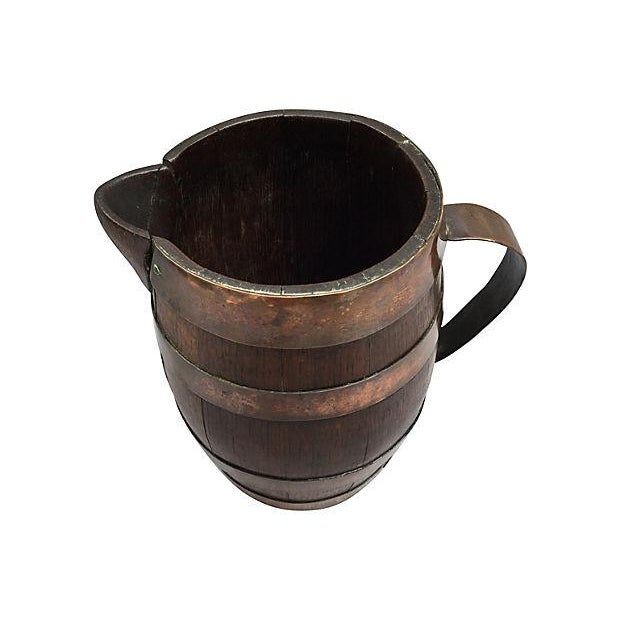 French Rustic Brass & Wood Pitcher - Image 4 of 4