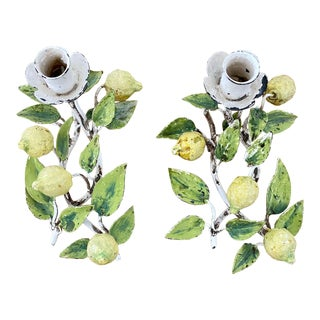 Mid 20th Century Italian Tole Peinte Lemon Tree Candle Holders - a Pair For Sale