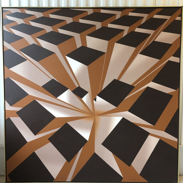 Abstract Vintage Artist Signed Geometric Op Art Acrylic on Canvas Monumental Wall Art- 5' X 5' For Sale - Image 3 of 13