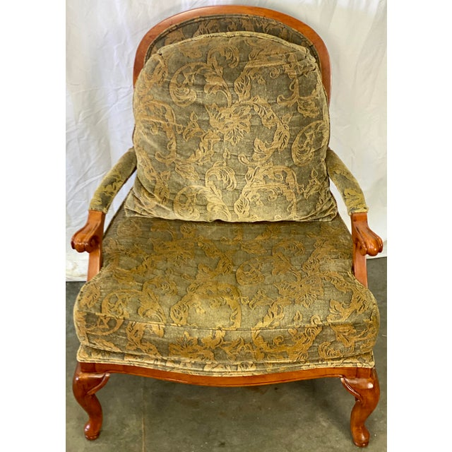 Vintage Walnut Drexel Heritage Upholstered Bergere Chair For Sale In Greensboro - Image 6 of 10