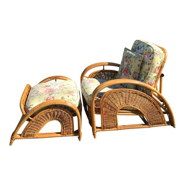 Vintage Palecek Bamboo Recliner Chair & Ottoman - A Pair For Sale