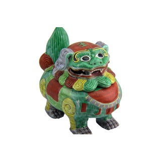 Painted Chinoiserie Foo Dog Jar with Lid
