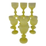 Image of Vintage Portieux Vallerysthal Yellow Cordial Glasses - Set of 11 For Sale