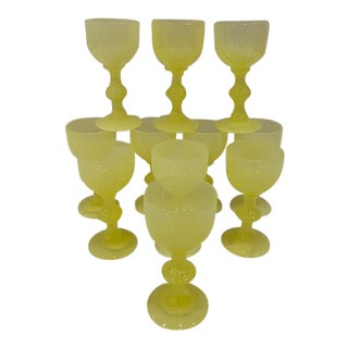 Vintage Portieux Vallerysthal Yellow Cordial Glasses - Set of 11 For Sale