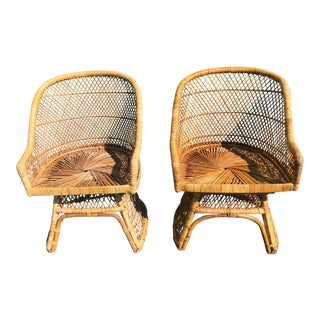 Vintage Boho Chic Wicker & Rattan Chairs-Pair For Sale