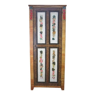 Antique Lew Hudnall Early American Painted Grain Pine Cupboard Farmhouse Cabinet For Sale