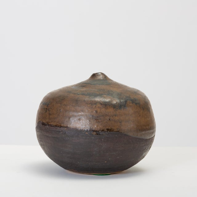 1950s Brown and Black Glazed Studio Pottery Weed Pot by Sakamoto For Sale - Image 5 of 11