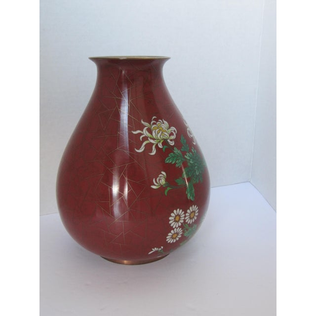 Vintage Cloisonné Vase with Flowers - Image 2 of 6