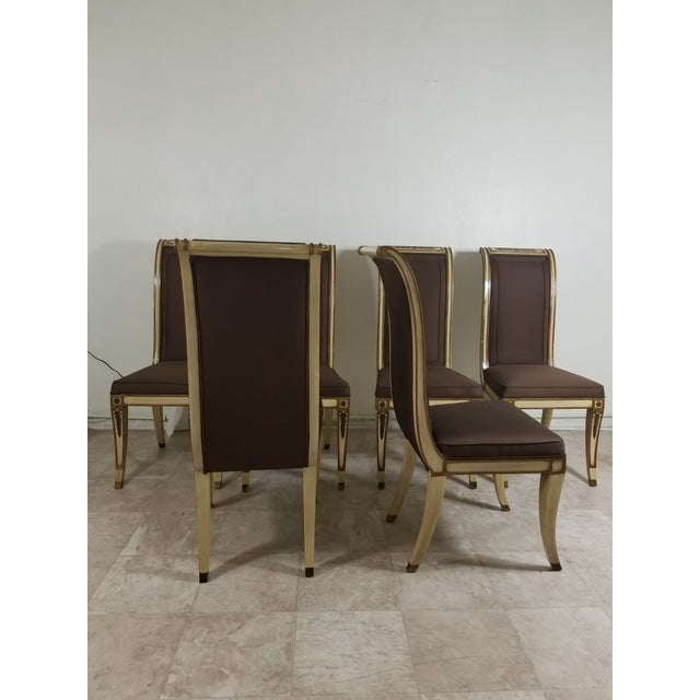 Hollywood Regency 1940s Vintage Hollywood Regency Dining Chairs- 6 Pieces For Sale - Image 3 of 13