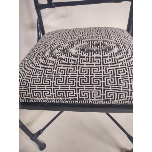 1960s Vintage Black Patio Chairs in Decorator Fabric - Set of 6 For Sale - Image 4 of 10