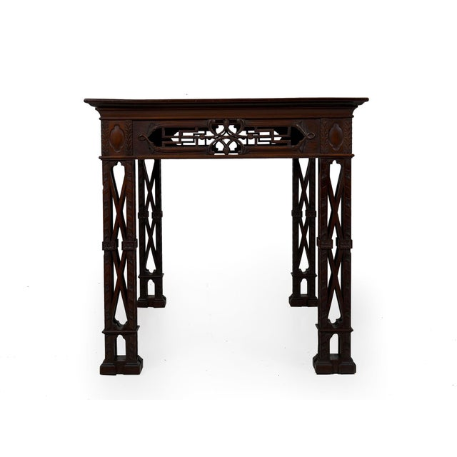 Early 20th Century Carved Mahogany English Antique Library Console Table For Sale - Image 5 of 13