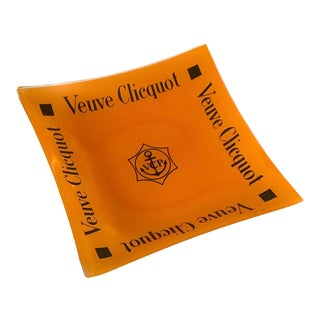 Large Veuve Clicquot Logo Glass Orange Trinket Dish For Sale