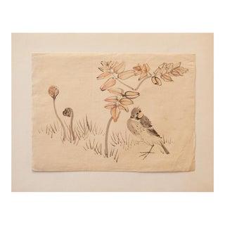 19th Century Meiji Era Japanese Watercolor of Finch For Sale