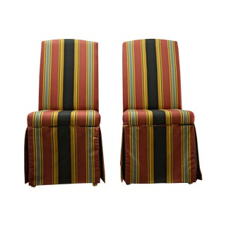 Striped Skirt Chairs - A Pair For Sale