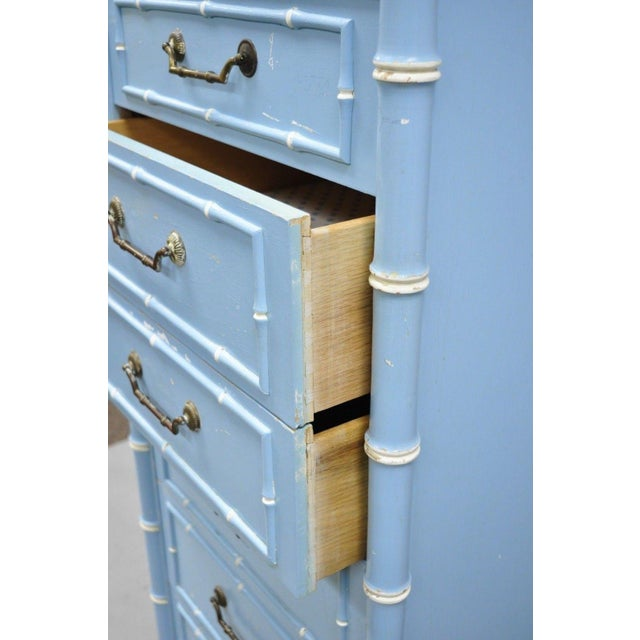 Mid 20th Century 20th Century Chinese Thomasville Allegro Faux Bamboo 7-Drawer Blue Painted Tall Lingerie Chest For Sale - Image 5 of 11