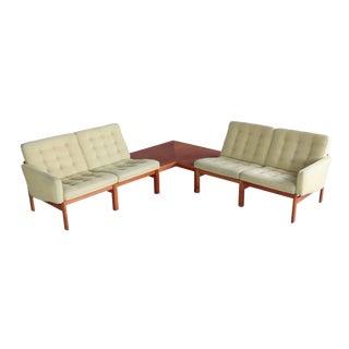 Ole Gjerløv-Knudsen & Torben Lind Moduline Corner 3 Pc. Seating Unit With Table, 1960s For Sale